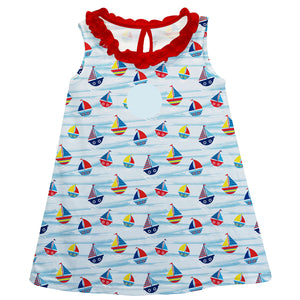 Sailboat Lt Blue A Line Baby Dress - Wimziy&Co.