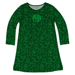 St Patrick Print Monogram Green Long Sleeve A Line Dress - Wimziy&Co.