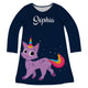 Navy and purple cat unicorn a line dress with name - Wimziy&Co.