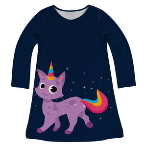 Navy and purple cat unicorn a line dress with name