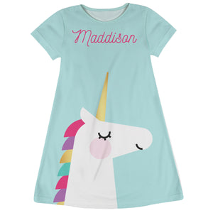 Light blue and white unicorn a line dress with name - Wimziy&Co.