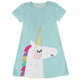 Light blue and white unicorn a line dress with name