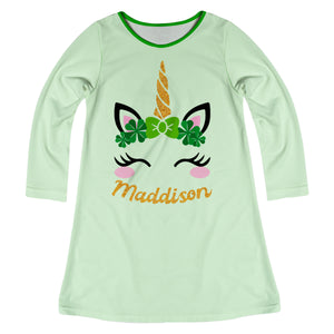 Unicorn Name Green Long Sleeve A Line Dress - Wimziy&Co.