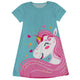 Aqua and pink big unicorn girls a line dress with name - Wimziy&Co.