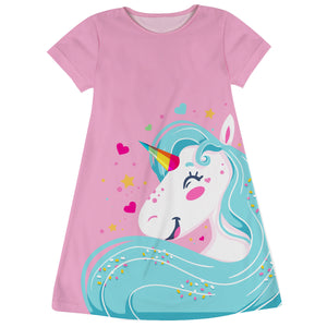 Pink and aqua big unicorn tank dress with name - Wimziy&Co.