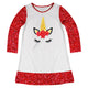 White and red unicorn face a line dress with name