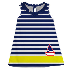 Yellow and Navy Stripe A Line Dress - Wimziy&Co.