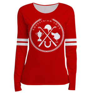 Red long sleeve equestrian blouse