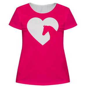 Hot pink equestrian heart short sleeve blouse - Wimziy&Co.