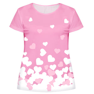 Hearts Pink and White Short Sleeve Tee Shirt - Wimziy&Co.