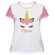 Unicorn Name White and Pink Glitter Short Sleeve Tee Shirt - Wimziy&Co.