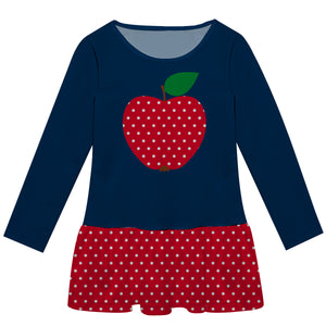 Apple And Polka Dots Navy And Red Long Sleeve Epic Dress - Wimziy&Co.