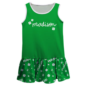 Clovers Name Print Green Short Sleeve Lily Dress - Wimziy&Co.