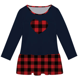 Girls navy and red plaid heart long sleeve lily dress
