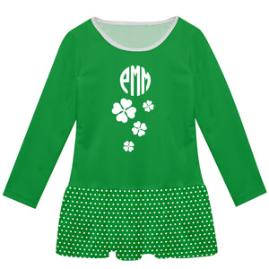 Clovers Monogram Green Polka Dots Long Sleeve Lily Dress - Wimziy&Co.
