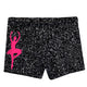 Black glitter girls dance shorts with monogram - Wimziy&Co.