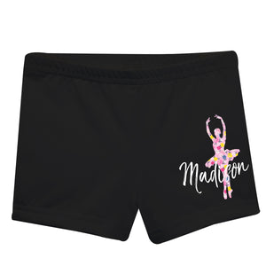 Black dance shorts with name