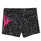 Gray glitter dancer silhouette girls dance shorts with monogram - Wimziy&Co.