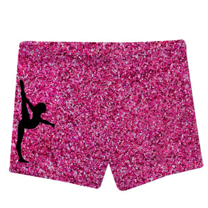 Hot pink glitter gymnast shorts with monogram - Wimziy&Co.