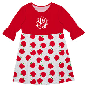 Apple Monogram White And Red Amy Dress - Wimziy&Co.