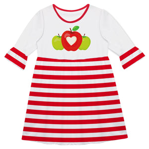 Apples White And Red Stripes Amy Dress - Wimziy&Co.