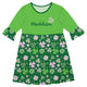 Clovers Print Name Green Amy Dress Three Quarter Sleeve - Wimziy&Co.