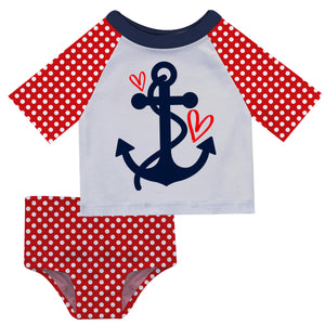 Anchor Hearts White and Red Polka Dots 2pc Short Sleeve Rash Guard - Wimziy&Co.