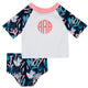 Coral Print Monogram White and Navy 2pc Short Sleeve Rash Guard - Wimziy&Co.