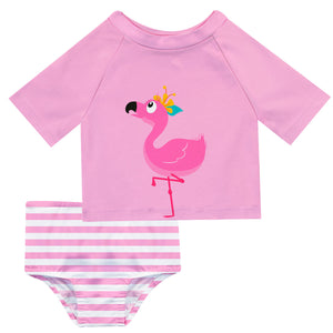 Flamingo Name Pink 2pc Short Sleeve Rash Guard - Wimziy&Co.