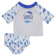 Fish Name Print White 2pc Shorts Sleeve Rash Guard - Wimziy&Co.