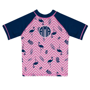 Flamingo And Pineapple Pink And Navy Short Sleeve Rash Guard - Wimziy&Co.