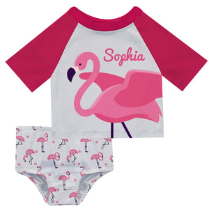 Flamingo Name White and Hot Pink 2pc Short Sleeve Rash Guard - Wimziy&Co.