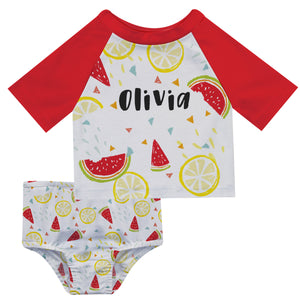 Fruit Print Name White and Red 2pc Short Sleeve Rash Guard - Wimziy&Co.