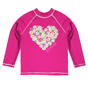 Heart Flowers Name Hot Pink Long Sleeve Rash Guard - Wimziy&Co.