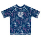 Jellyfish Print Monogram Navy Short Sleeve Rash Guard - Wimziy&Co.