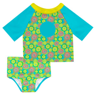 Lemons Print Monogram Aqua 2pc Short Sleeve Rash Guard - Wimziy&Co.