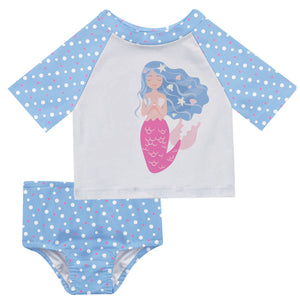 Mermaid Name White and Light Blue Polka Dots 2pc Short Sleeve Rash Guard - Wimziy&Co.