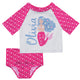 Mermaid Name White and Pink 2pc Short Sleeve Rash Guard - Wimziy&Co.