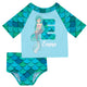 Mermaid Initial and Name Aqua 2pc Short Sleeve Rash Guard - Wimziy&Co.