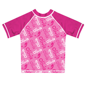Mermaid and Name Print Pink Short Sleeve Rash Guard - Wimziy&Co.