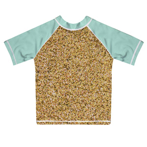 Monogram Gold Glitter and Tuquoise Short Sleeve Rash Guad - Wimziy&Co.