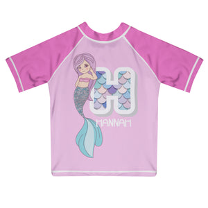 Mermaid Initial and Name Light Pink and Pink Short Sleeve Rash Guard - Wimziy&Co.