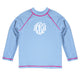 Monogram Light Blue Long Sleeve Rash Guard - Wimziy&Co.