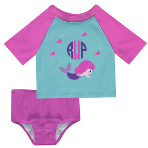 Mermaid Monogram Blue and Pink 2pc Short Sleeve Rash Guard - Wimziy&Co.