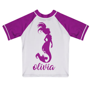 Mermaid Name White and Purple Short Sleeve Rash Guard - Wimziy&Co.