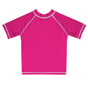 Monogram Hot Pink Short Sleeve Rash Guard - Wimziy&Co.