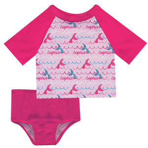 Mermaid Name Print Pink and Hot Pink 2pc Short Sleeve Rash Guard - Wimziy&Co.