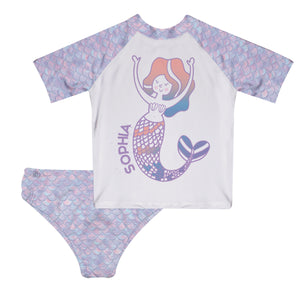 Mermaid Name White And Purple 2Pc Short Sleeve Rash Guatd - Wimziy&Co.