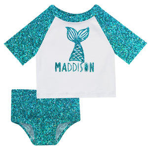 Mermaid Name White and Turquoise Glitter 2pc Short Sleeve Rash Guard - Wimziy&Co.