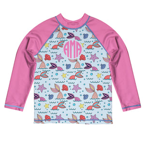Mermaid Monogram Light blue and Pink Long Sleeve Rash Guard - Wimziy&Co.